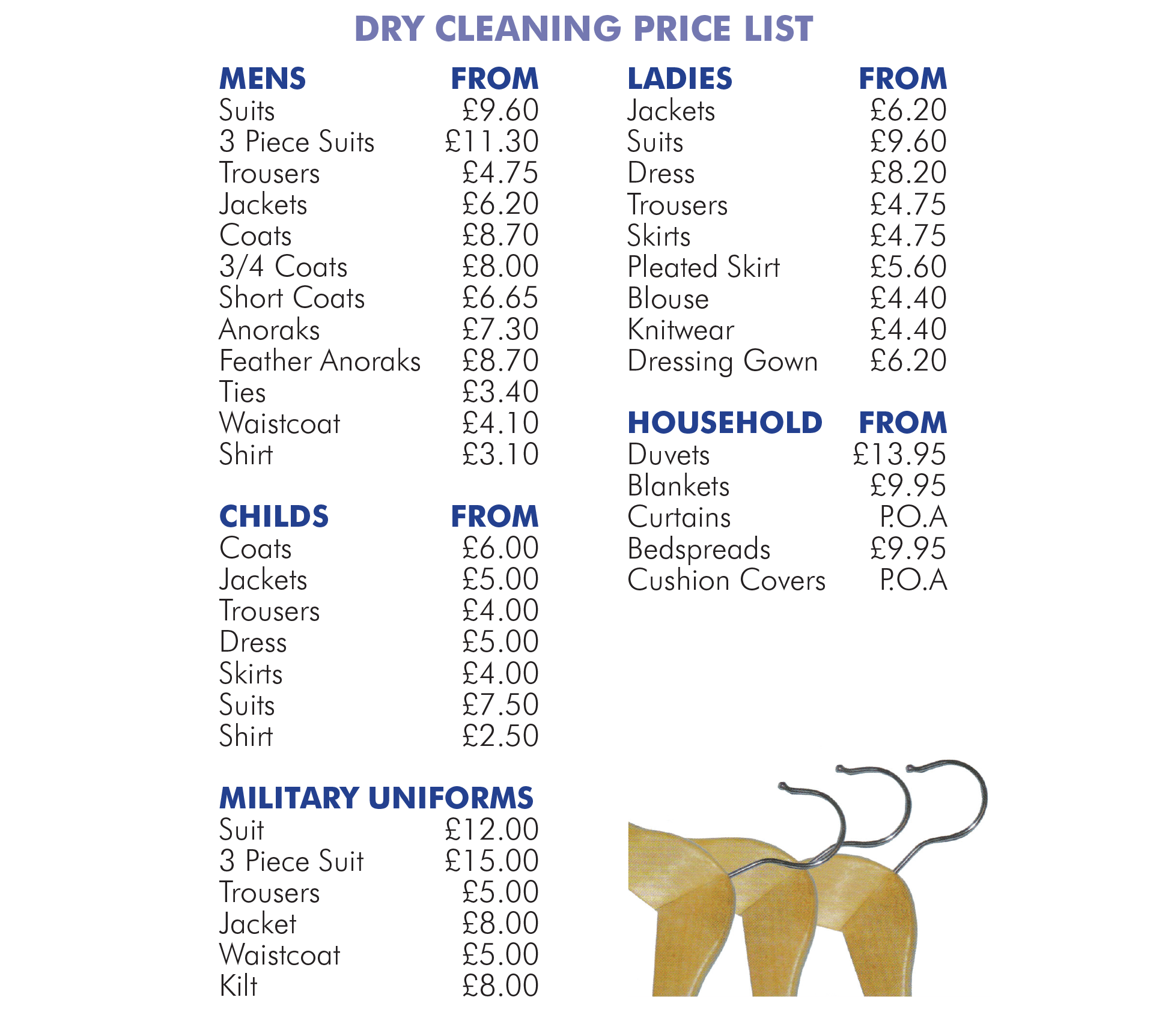 dry cleaning prices pricing central cleaners cleaners in 30704